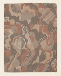 Drawing, Design for Carpet: Still Life with Musical Instruments, Radio City Music Hall, New York, NY