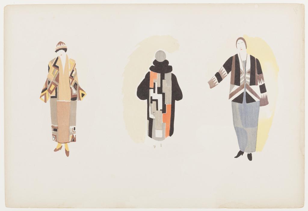 Three garment designs worn by female models.