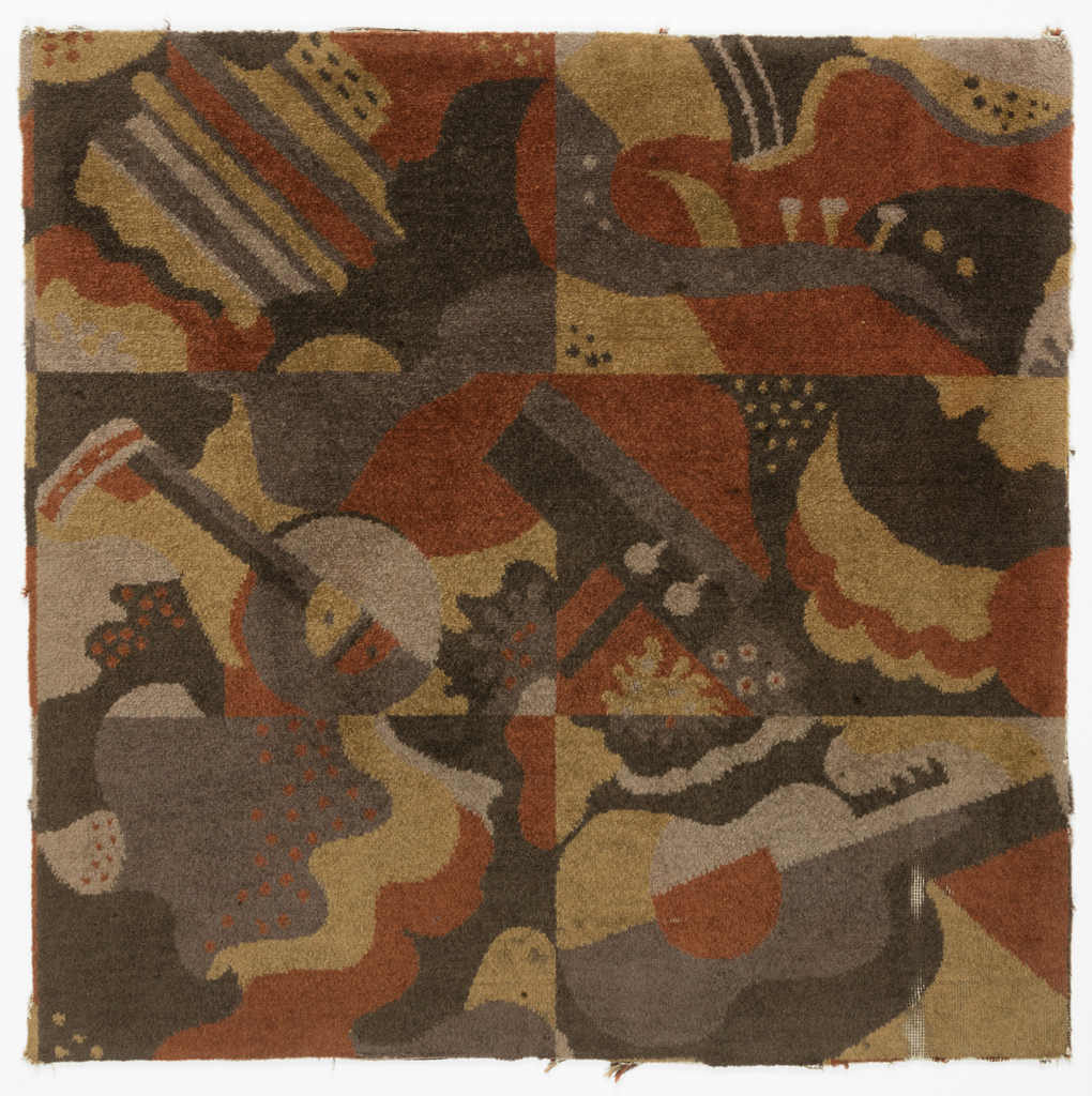 carpet pattern design. Fragment Of Carpet With A Grid Six Rectangles Depicting Guitar, Saxophone, And Other Pattern Design