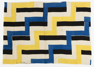 Stepped design of rectangles printed in black, royal blue and yellow on a white ground.
