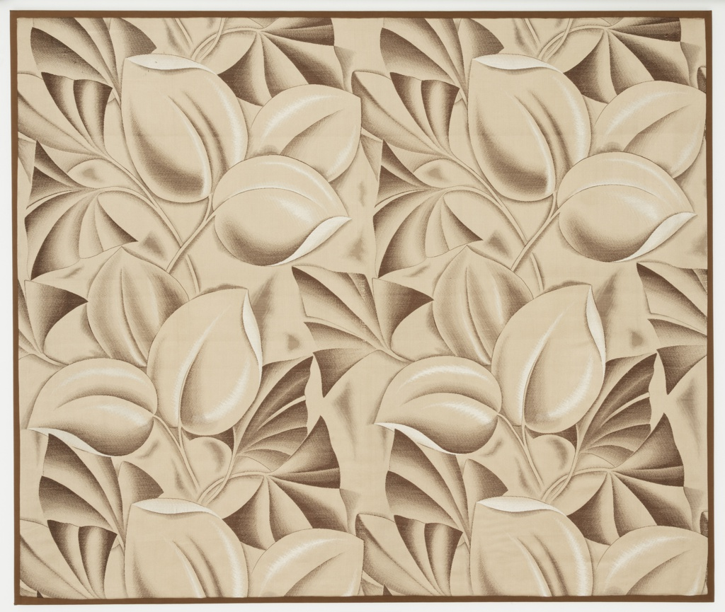 Woven textile with a large-scale design of tropical foliage, in brown, taupe and silver.