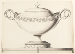 The vessel is banded with an alternating leaf motif placed diagonally. The lid is banded with fan-shaped scallops and with the finial in the shape of a small urn. Handles composed of coiled snakes. The tureen rests on a platform with a leaf meander band.