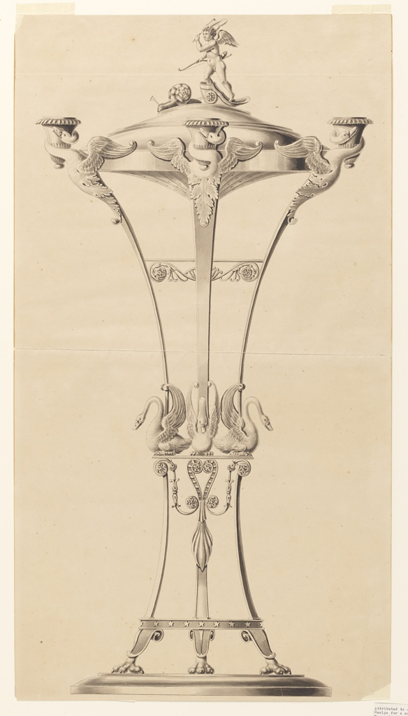 The candlestick is in the shape of a censer. Topped by cupid in a chariot drawn by snails. Supported by a ring before which the foreparts of four swans are intended to carry four sockets. They are fastened to the legs which rise in the scheme of a tripod. The top section starts from a base upon which swans crouch. The bottom section stands with clawed feet on a plinth.