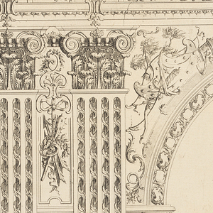 Left portion of a round-headed gateway, flanked by two corinthian pilasters.