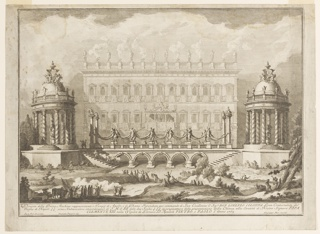 "Horizontal rectangle.  The two circular, domed temples, to which steps lead, are at left (Apollo) and right (Diana) and are connected by a bridge structure.  In the background is the Palazzo Franese, decorated for the celebration.  In the foreground, workers cut wood while other participants form a procession with smoking vessels.  Framing lines.  Bottom:  ""Disegno della Prima Machina rappresentante i Temii...Incendiata per commando di Sua Eccelenza il Sigr DON LORENZO COLONNA Gran Contestabile de / Regno di Napoli S S come Amdella presentazione della Chinea alla Santita di Nostro Signore PAPA / CLEMENTE XIII, nella Vigilia de Gloriosi S. S. Apostoli PIETRO E PAOLO l'anno 1763"" / ""Paolo Posi Architetto""  ""Giuseppe Palazzi dis.""  ""Giuseppe Vasi incise."""
