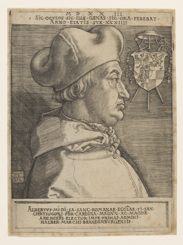 Vertical format portrait of Cardinal Albert of Brandenburg, Elector and Archibishop of Mainz from 1514-1545 and Archbishop of Magdeburg from 1513-1545. Bust view of figure shown in profile facing the left, wearing cardinal attire. At upper right, the subject's coat of arms, surmounted by cardinal's hat and emblems. Printed text at upper and lower margins contained within black framing lines. Verso: sketches in graphite.