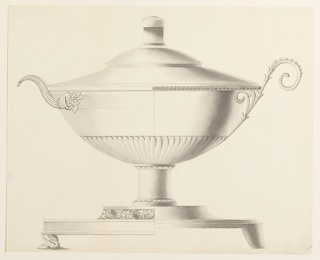 Design for a tureen with alternate schemes of decoration. The left half of the vessel is decorated with a handle composed of a cornucopia, and the base is banded with a grapevine meander and rests on a paw foot. The right half is banded by a repeating palmette motif and handle in the form of a plant stalk. Finial unadorned.