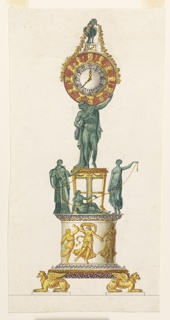 Vertical rectangle. Design for a clock intended to be executed in gilded and green bronze and white and colored marble. Two crouching griffins support a round pedestal with a frieze of dancing girls. Above stands a tripod, with Atlas carrying the globe, which contains the dial of the clock, framed outside by busts of gods. At top is a rooster supporting a garland. Beside the tripod are the figures of the Fates.
