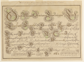 Facsimile of original marriage certificate of Charles II and Catherine of Portugal