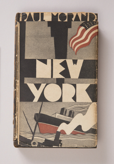 Dust jacket design depicting American flag, skyscrapers, and steamship in colors red, white, black, and gray.