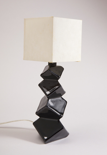 "Ceramic lamp from Rombic line, shape #307L-7"", in form of four stacked cubes, with black gloss glaze."