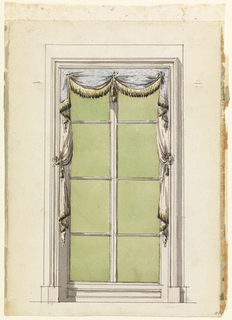 Simply delineated window case and frame for tall casement windows.  Window treatment consists of blue fabric dotted with pink spots, gathered in center and corners to create short festoon and pleats on either side.  This valence lays over a pale pink curtain, also gathered just above the center of the window frame on either side, yielding a soft drape and pleats.  Both curtains and valence are ornamented with yellow fringe having darked eneds.  Tiebacks match fringe.