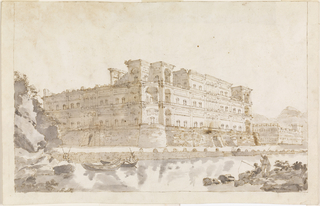Large palace with unfinished upper storey, seen from one corner, situated near a bay.  Boats and fishermen.  Beside it, at right, is a mediaeval palace.  At left are rocks.  Framing line.