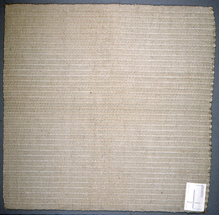 Handwoven sample with tight plain weave alternating with vertical stripes of fatter warp yarns, in off-white.