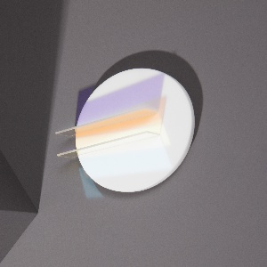 Brooch in form of white disc with two inset transluscent, colored renctangles projecting beyond edge.