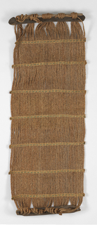 Hammock with wooden stretchers at each end. Three-strand braids of raffia used as 'warps,' held together with weft twining.
