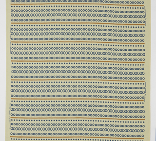 Length of off-white cotton printed with horizontal stripes of mustard brown alternating with rows of blue dots and circles in two sizes.