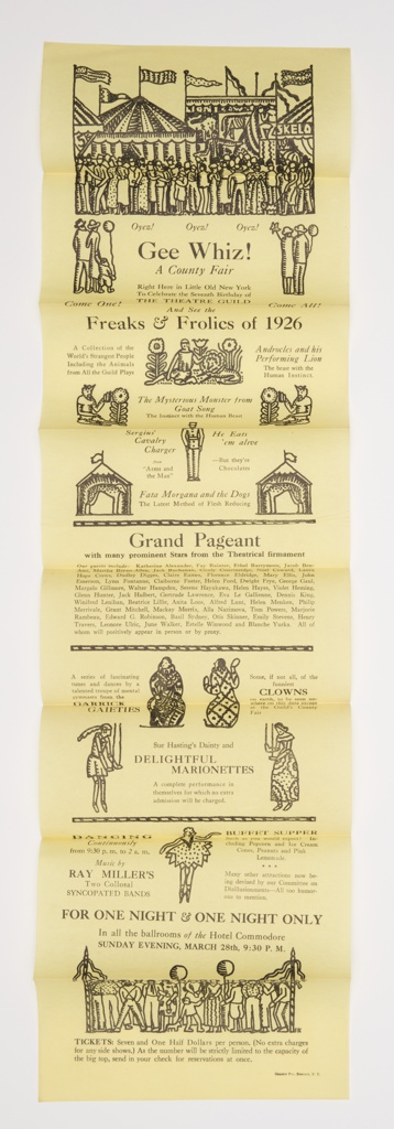 Flyer with many folds advertising the Freaks and Frolics and the Grand Pageant at the 1926 New York County Fair. Illustrated figures and scenes, printed text throughout. Figures include fairgoers with balloons and flowers, costumed performers, clowns, and marionettes. At top, large crowd of fairgoers surrounding performer on stilts. In background, multiple decorated tents with patterned flags.
