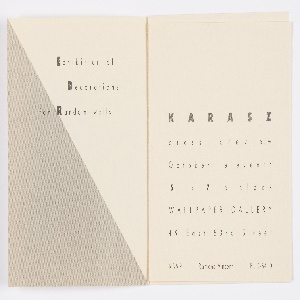 "Quarter-fold booklet with black and white photoillustration printed across front and back covers, printed text ""ILONKA KARASZ"" underneath. Printed text interior includes a press preview invitation to the collection and a short letter from Katzenbach. Wallcoverings collection on view October 12 through November 30, 1948."