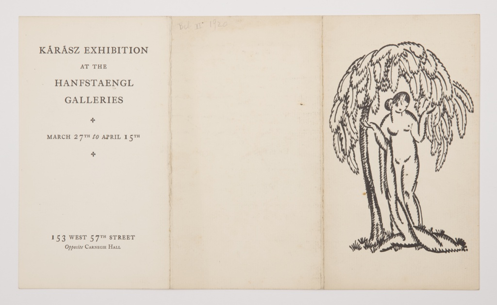 Tri-fold booklet with printed black text throughout. One large reproduction of a linoleum cut print featuring a female nude standing underneath a curving leafy tree, her arms bent upwards, a robe draped over her right arm. Printed details contain the dates and title of the exhibition and titles of the included prints.