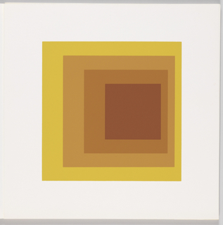 Portfolio plate, square format. Group of four graduated opaque concentric squares in shades of orange and yellow, each placed near the bottom of its surrounding square. Arrangement placed at the center of a square white sheet.