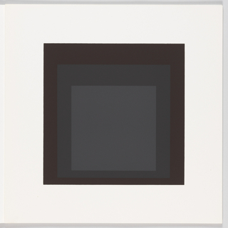 Portfolio plate, square format. Group of three graduated opaque concentric squares in shades of gray and black, each placed near the bottom of its surrounding square. Arrangement placed at the center of a square white sheet.