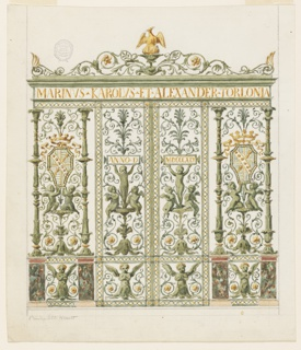 Design for a gate of a chapel of the Torlonia family, intended to be executed in metal, probably for the chapel in St. Giovanni in Laterno, Italy. A folding door between a lateral panel on either side. In the latter stand two columns in the shape of candelabra upon marble pedestals, supporting at front a band with two entwined ribbons as it frames the panels of the leaves and connects the bases and cornices of the pedestals, and then the entablature. In the frieze is the inscription: MARINVS-KAROLVS-ET-ALEXANDER-TORLONIA. On top are rinceaux with the rising pelican in gold in the center. In the intervals between the columns are plant caldelabra, with two kneeling putti supporting the coat of arms. A half figure of a winged putto is in the panel, between the pedestals. The leaves are divided into a high upper and a small under panel, the latter with a similar decoration to their neighbors. Above are plant candelabra with three putti each, similar to 1901-39-2442. In the tablet is respectively: ANNO-D and MDCCCXLV.