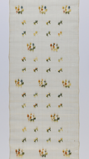 b) Single row of widely spaced floral sprigs alternating with double row of smaller bud sprigs, brocaded in cotton on sheer undyed piña cloth ground in yellows, oranges, greens, blues. Coarse screen effect of ground obtained by grouping five warps closely, isolating single one, etc.; wefts same. Two plain selvages. Purchased in a Manila market.