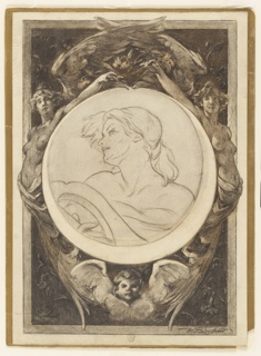 At center, within a circular frame, a bust of a woman holding the head of a lyre with her right hand. The female figure is shown against an oblong narrow background framed by a moulding consisting of two outstretched female angels, their wings crossing at upper center. Below, the head of a putti and wings. Vegetal and floral motifs in the background, two series of rectangular framing lines.