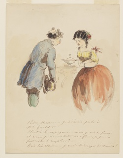 Vertical rectangle. At right, a woman, seen in three quarter view from front, with black curly hair wearing a low-necked yellow blouse and an orange skirt. At left, an elderly gentleman wearing gloves, seen in three quarter view from back, bowing to the woman. Handwritten inscription below.