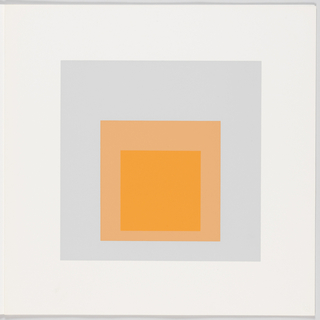 Portfolio plate, square format. Group of three graduated opaque concentric squares in shades of orange and gray, each placed near the bottom of its surrounding square. Arrangement placed at the center of a square white sheet.