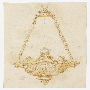 Vertical format. Design for a chandelier with a golden ring at the top, attached to the base by two long gold chains decorated with leaves. Each chain is held by a putti at left and right attached to the base, which is in the shape of a capital. At its face, an image of the Crucifixion; festoons at either side. Above, a scrolling base supports a single wide burning candle. Busts of putti at either side.