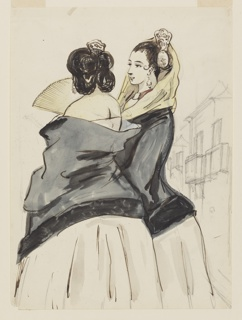 Vertical rectangle. Two women seen from the back, both wearing white dresses with black scarves and high Spanish combs. One carries a yellow fan, the other has a yellow scarf over her head. In background, a second floor balcony sketched in graphite.