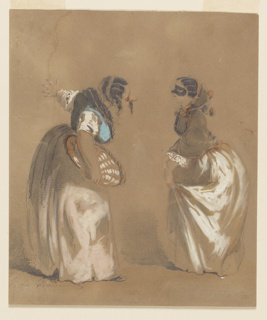 Two women bowing to each other. One female figure wears a black mask, the other a false face with a long nose and moustache. Woman on left wears a pinkish-tan skirt and blue blouse; woman on right wears a white skirt, tan jacket and hood.
