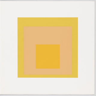 Portfolio plate, square format. Group of three graduated opaque concentric squares in shades of yellow and orange, each placed near the bottom of its surrounding square. Arrangement placed at the center of a square white sheet.