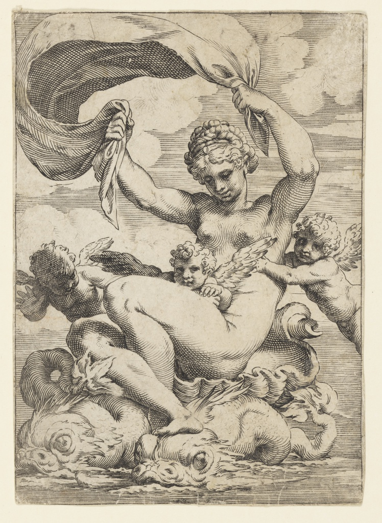 Print, Venus (or Galatea) and Cupids Supported by Dolphins