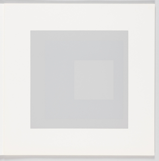 Portfolio plate, square format. Group of three graduated opaque concentric squares in shades of gray and blue, each placed near the bottom of its surrounding square. Arrangement placed at the center of a square white sheet.