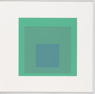 Portfolio plate, square format. Group of three graduated opaque concentric squares in shades of green and blue, each placed near the bottom of its surrounding square. Arrangement placed at the center of a square white sheet.