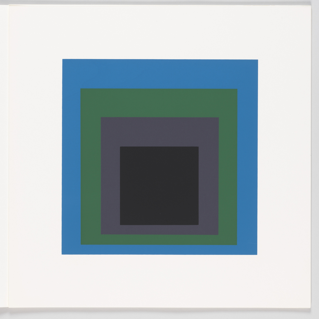 Portfolio plate, square format. Group of four graduated opaque concentric squares in black, gray, green, and blue, each placed near the bottom of its surrounding square. Arrangement placed at the center of a square white sheet.