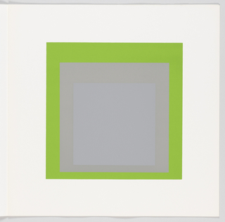 Portfolio plate, square format. Group of three graduated opaque concentric squares in shades of gray and green, each placed near the bottom of its surrounding square. Arrangement placed at the center of a square white sheet.