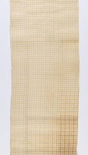Plaid of cream-colored pineapple fiber and white cotton. Narrow stripes of pineapple fiber in the warp and weft direction separates the larger blocks of cream and white. These narrow stripes are outlined by single warps and wefts of red and white dashed lines.