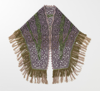 Shaped scarf made of green and lavender taffetta cut out in a design of flowers and scrolling leaves and applied to net by machine stitching; edged with green and lavender picot and fringe.