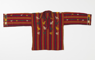Red shirt with green, blue and yellow stripes. Four rows of brocaded stylized animals on the front and back. Sleeves have brocaded birds and geometric patterning, plus row of brocaded chevrons at cuffs. Brocaded areas are in green, yellow, and white.