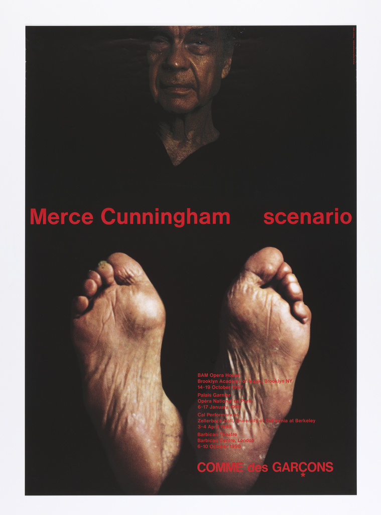 "Vertical format poster advertising dance performance of ""Scenario,"" choreographed by Merce Cunningham with costumes by Rei Kawakubo of Comme des Garçons. On black ground, a four-color photograph of a male dancer's body, bare wrinkled feet at bottom with toes pointed upwards. At top center, view of the dancer's face. At his neck, a black v-neck outline, all other details of the dancer's costume fade into black background. Printed text in red at center and at lower right."