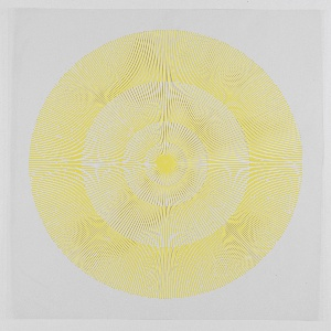 Four graduating concentric circles of radial lines like spokes of a wheel; yellow printed on clear ground.
