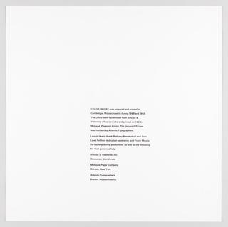 """Print, Acknowledgements Page, Plate 27, """"Color/Moire"""" Portfolio"""