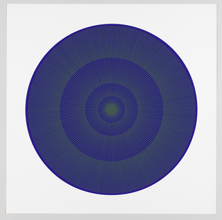 Four graduating concentric circles of radial lines like spokes of a wheel; royal blue background overprinted in drab green on white ground.