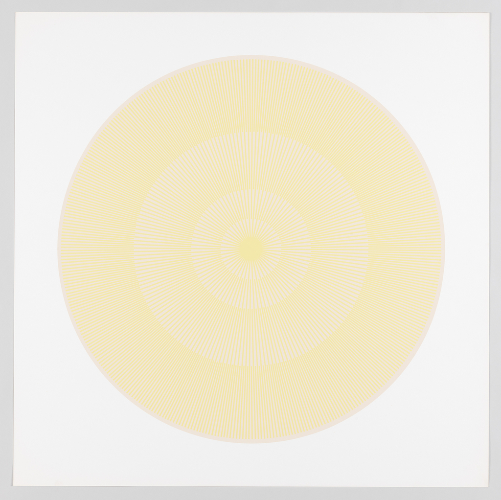 Four graduating concentric circles of radial lines like spokes of a wheel; beige background overprinted in butter yellow on white ground.