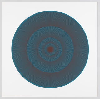 Four graduating concentric circles of radial lines like spokes of a wheel; aquamarine background overprinted in rust on white ground.