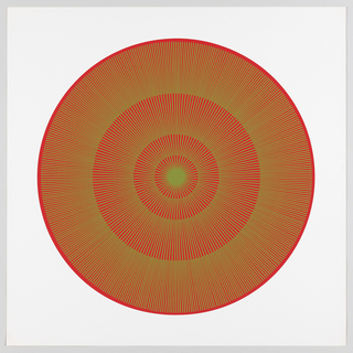 Four graduating concentric circles of radial lines like spokes of a wheel; red background overprinted in olive on white ground.